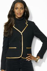 Lauren by Ralph Lauren Three Buttton Jacket with Gold Trim - Lyst