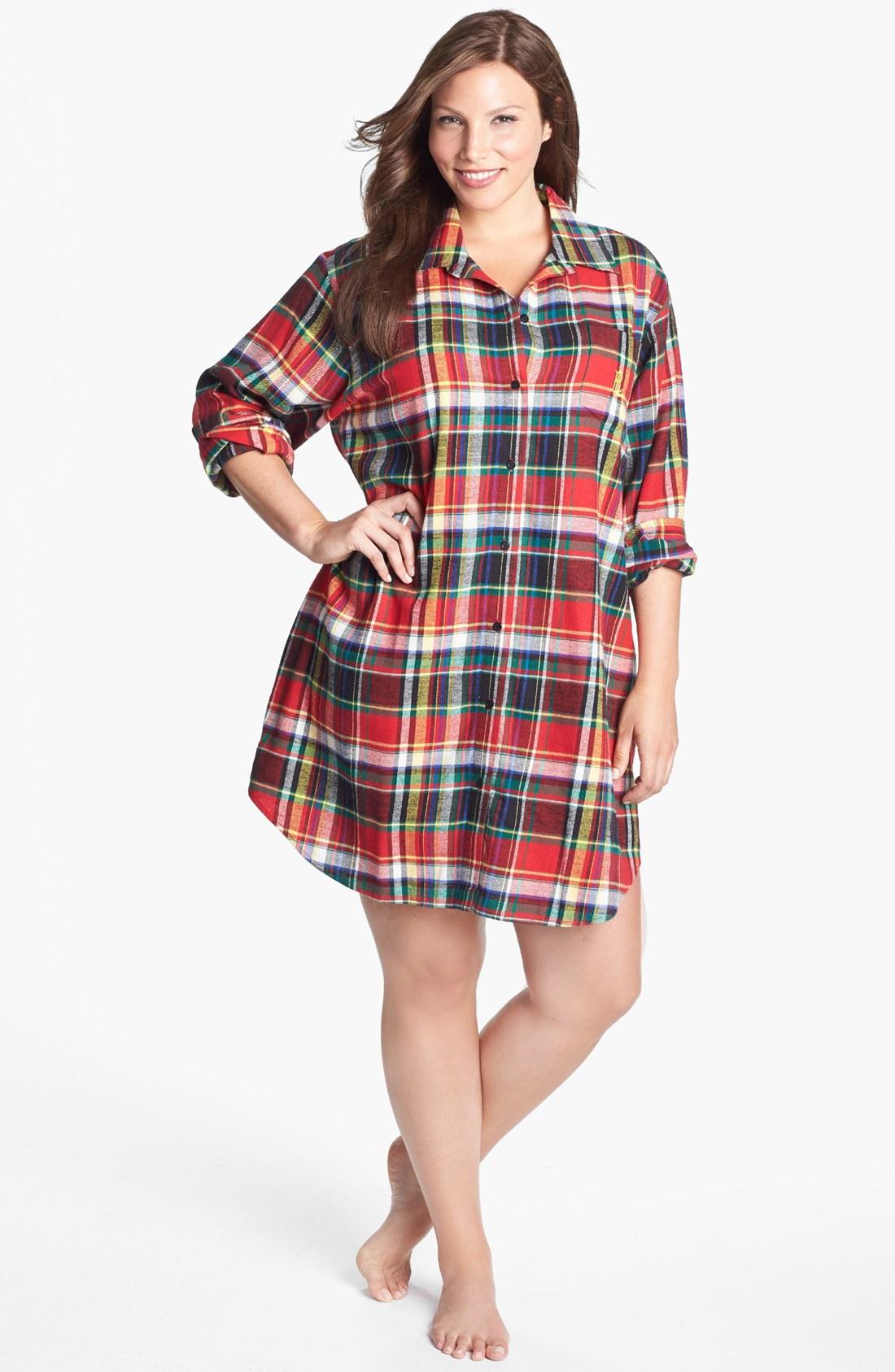 Lauren by ralph lauren flannel nightshirt in red buchanen for Womens flannel night shirts