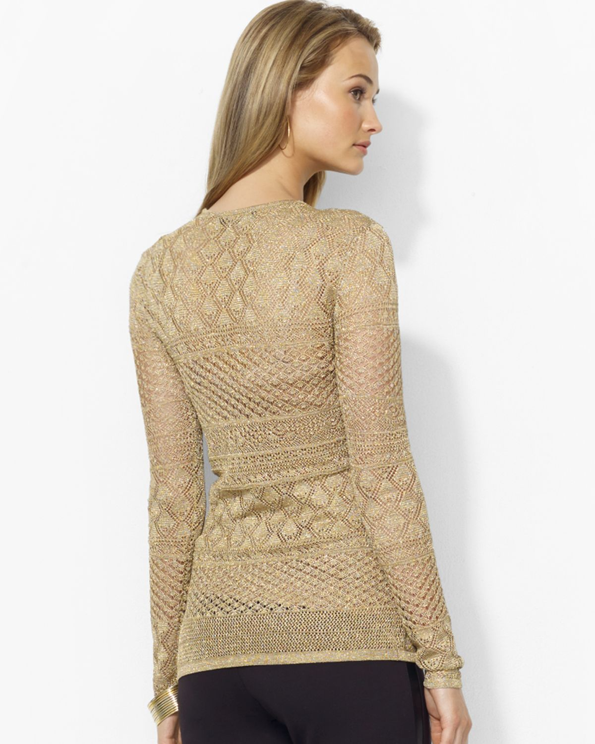 Ralph lauren Metallic Pointelle Knit Sweater in Natural | Lyst