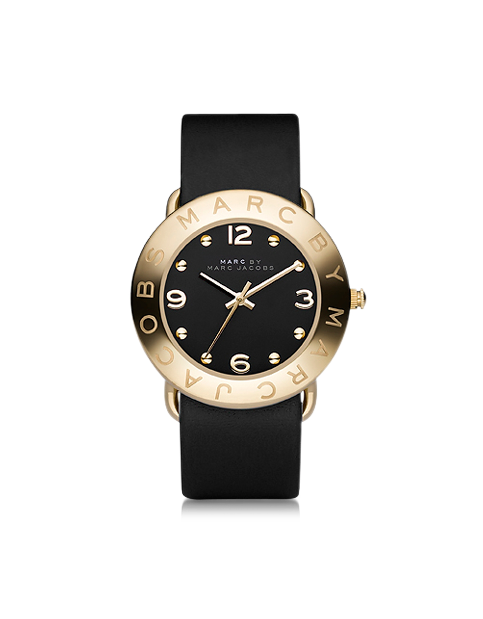 Lyst marc by marc jacobs amy 36mm black leather strap watch in black for Black leather strap