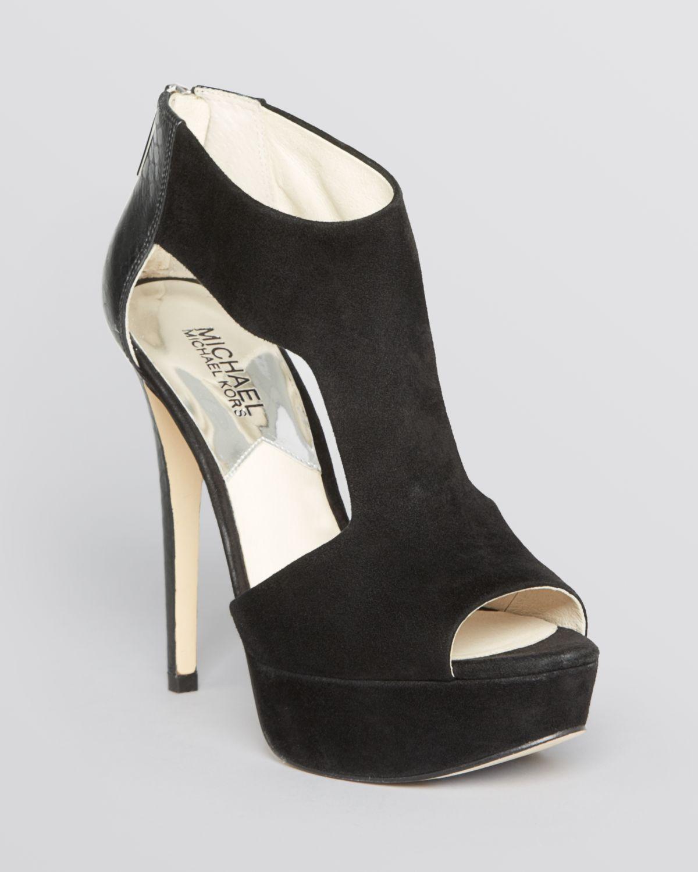 michael michael kors leighton high heel peep toe platform sandals in black lyst. Black Bedroom Furniture Sets. Home Design Ideas