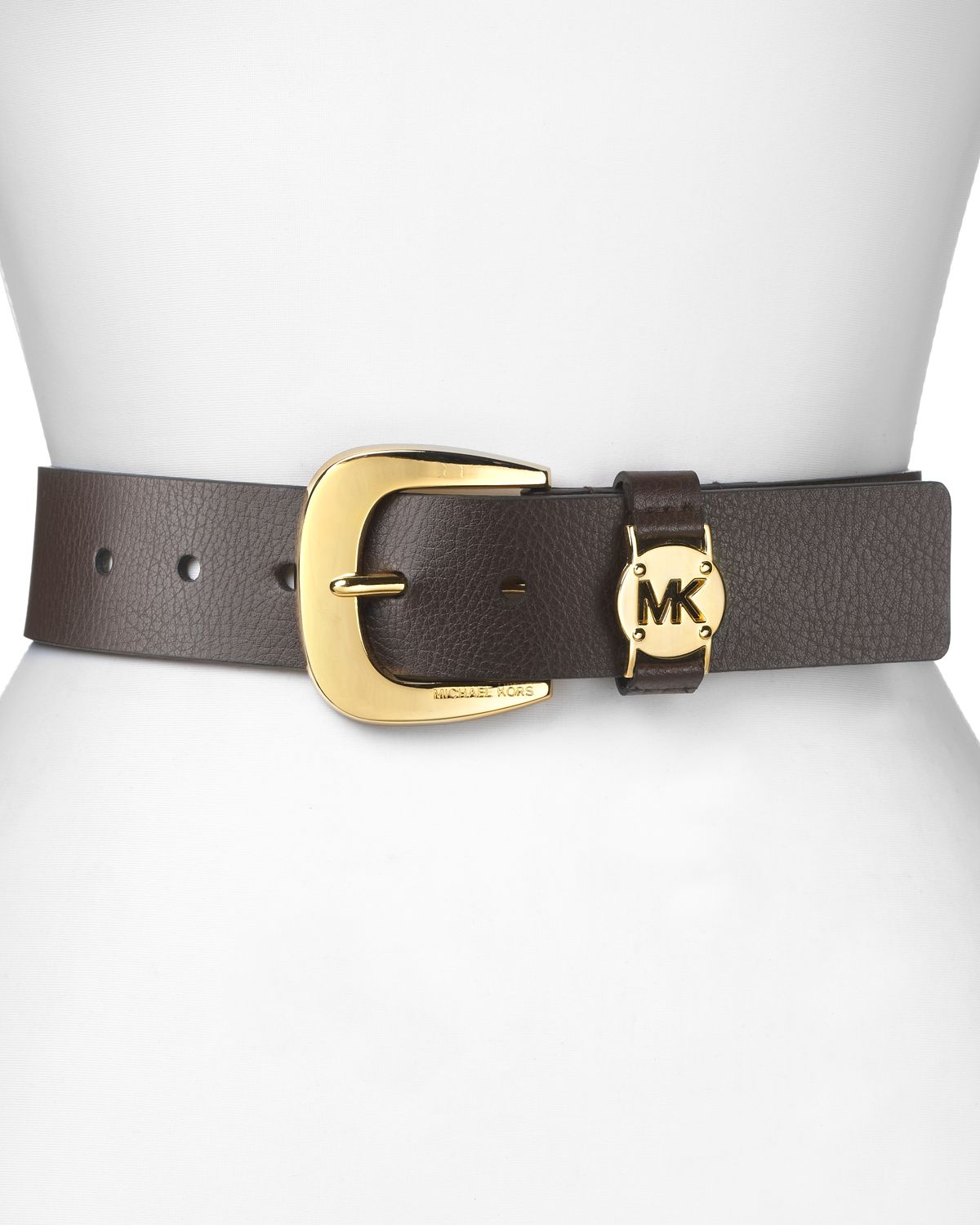 6388589bb537 ... promo code for lyst michael michael kors belt solid mk logo in brown  6da42 c2062