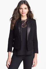Milly Leather Lapel Blazer - Lyst