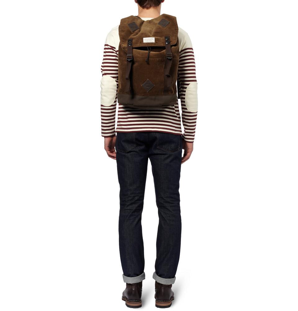 Neighborhood porter corduroy backpack in brown for men lyst for Men a porter
