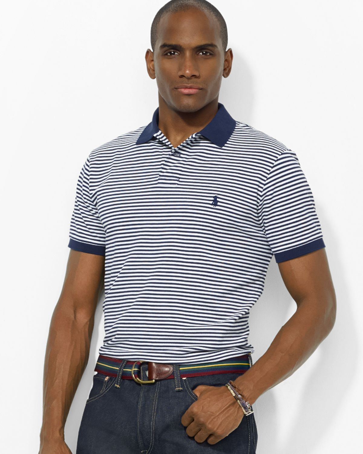 Ralph Lauren Light Blue Short Sleeved Mesh Men Polo
