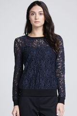 Theory Jaidyn Sheer Lace Sweater - Lyst
