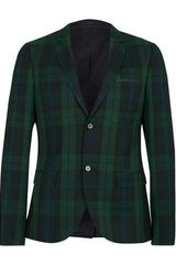 Topman Green and Navy Checked Skinny Suit Jacket - Lyst