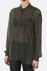 Topshop Animal Print Oversized Shirt - Lyst
