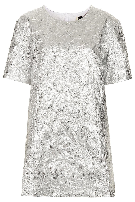 Topshop metallic foil tshirt dress in silver lyst for Silver metallic shirt women s