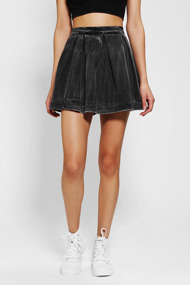 Urban outfitters Kc By Kill City Grungy Denim Circle Skirt in Gray ...