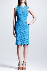 Valentino Sleeveless Heavy Lace Sheath Dress Blue - Lyst