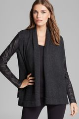 Vince Cardigan Sweater Leather Sleeve - Lyst