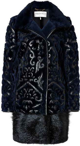 Emilio Pucci Fur Coat with Leather Applique in Blackblue - Lyst