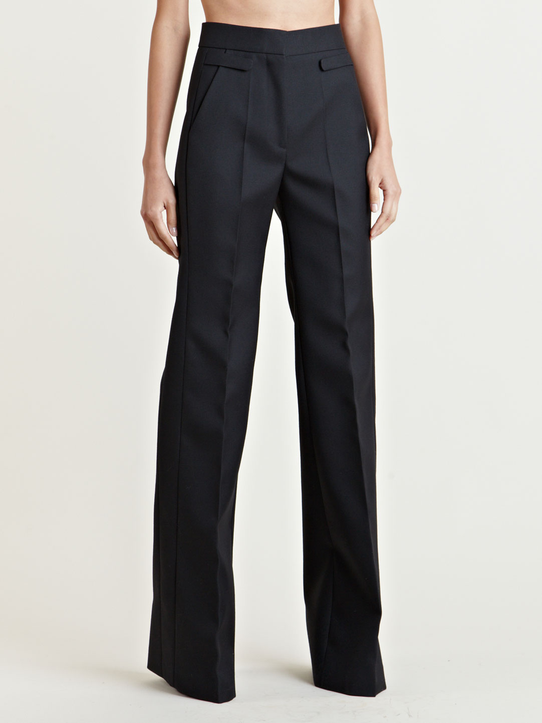 Givenchy Womens High Waisted Wide Leg Pants in Black - Lyst