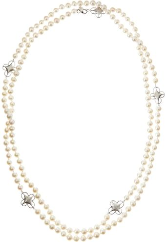 Judefrances Jewelry Clover Pearl Necklace - Lyst