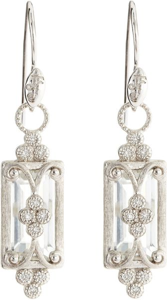 Judefrances Jewelry Emeraldcut White Topaz Drop Earrings - Lyst