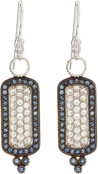 Judefrances Jewelry White Blue Sapphire Cushion Earrings - Lyst