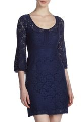 Laundry By Shelli Segal Stretch-lace Dress Ink-blot - Lyst