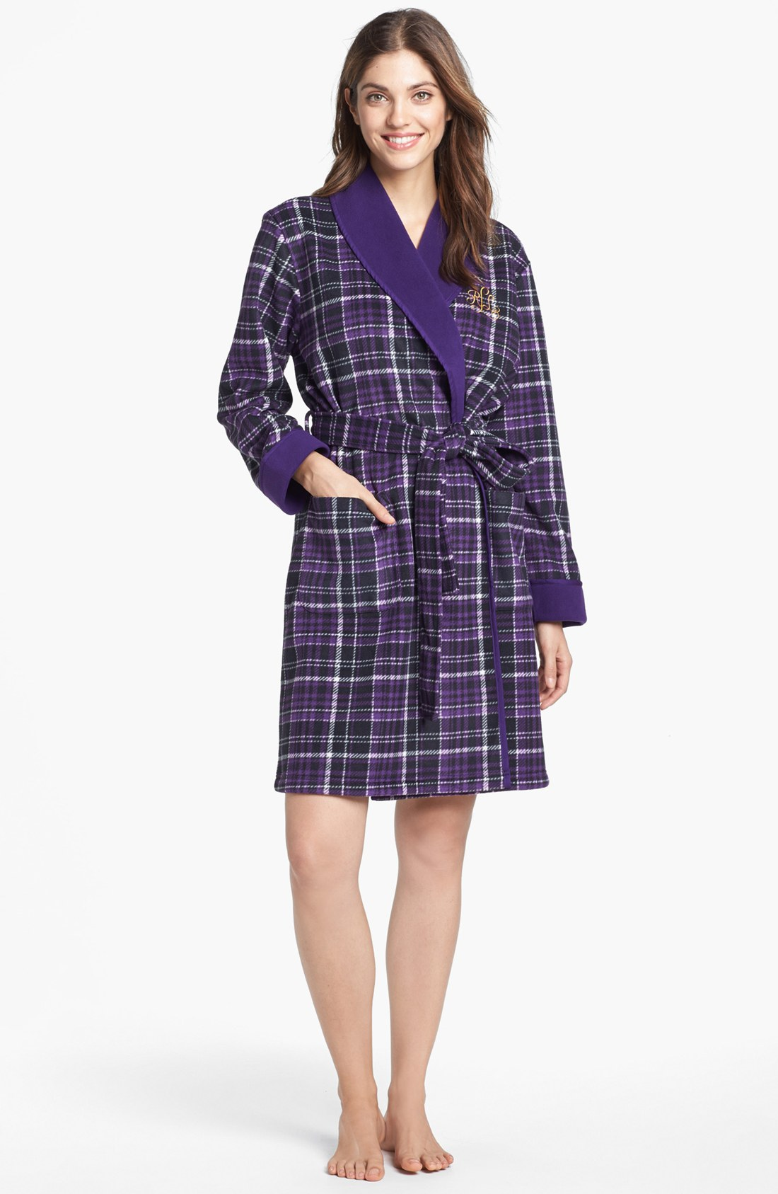 lauren by ralph lauren shawl collar robe in purple emerson tartan purple plaid lyst. Black Bedroom Furniture Sets. Home Design Ideas