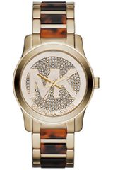 Michael Kors Womens Runway Tortoise Acetate and Goldtone Stainless Steel Bracelet 38mm - Lyst