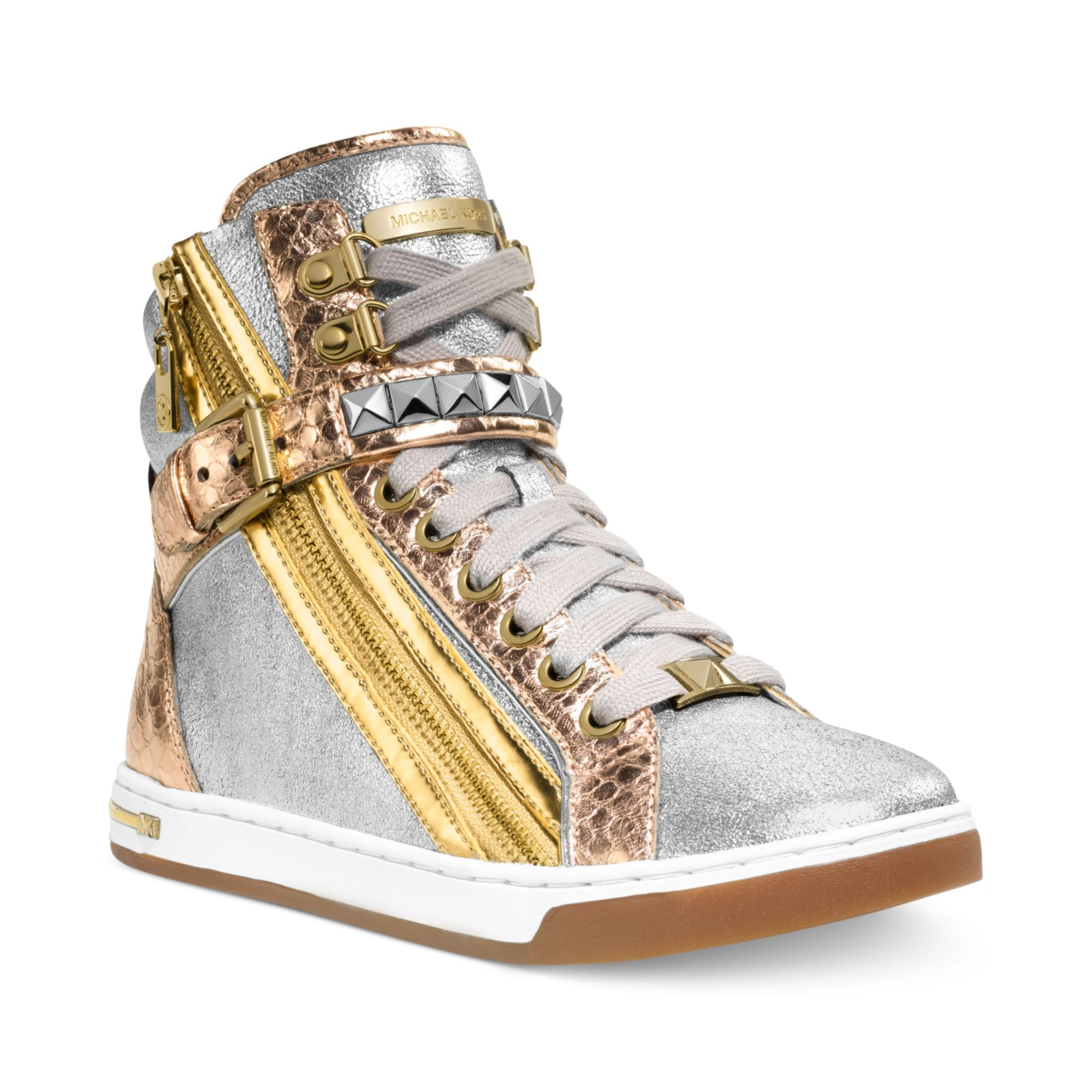 michael kors glam studded high top sneakers in pink rose. Black Bedroom Furniture Sets. Home Design Ideas