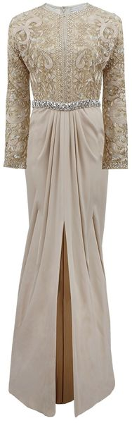 Naeem Khan Embroidered Split Top Gown - Lyst