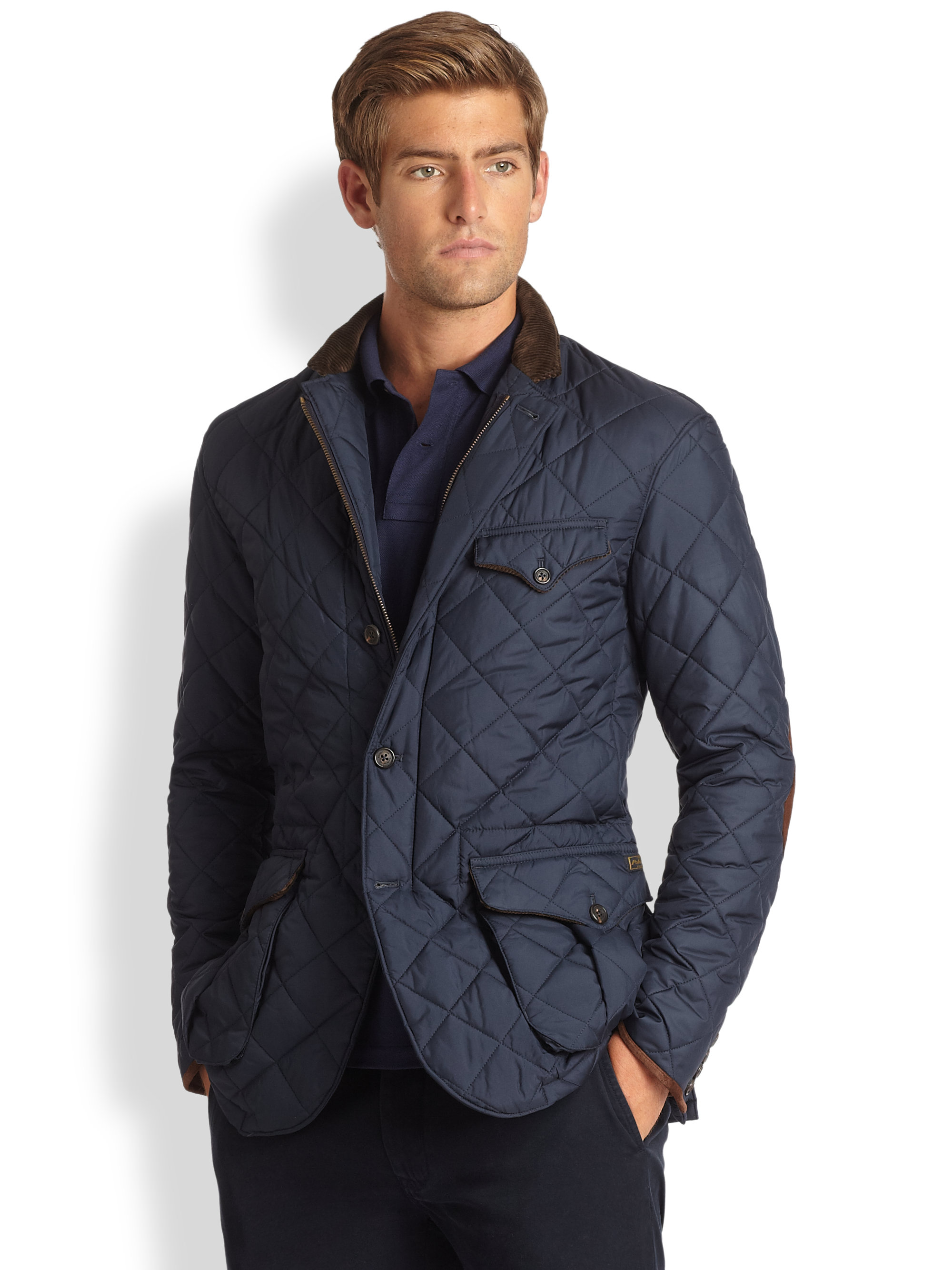 polo ralph lauren quilted sportcoat in blue for men lyst. Black Bedroom Furniture Sets. Home Design Ideas