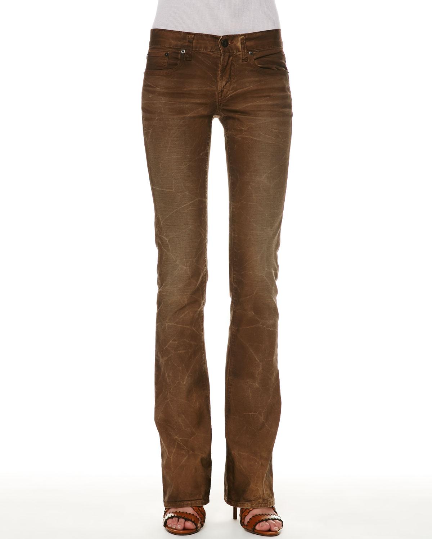 Ralph lauren 109 Distressed Bootcut Jeans in Brown | Lyst