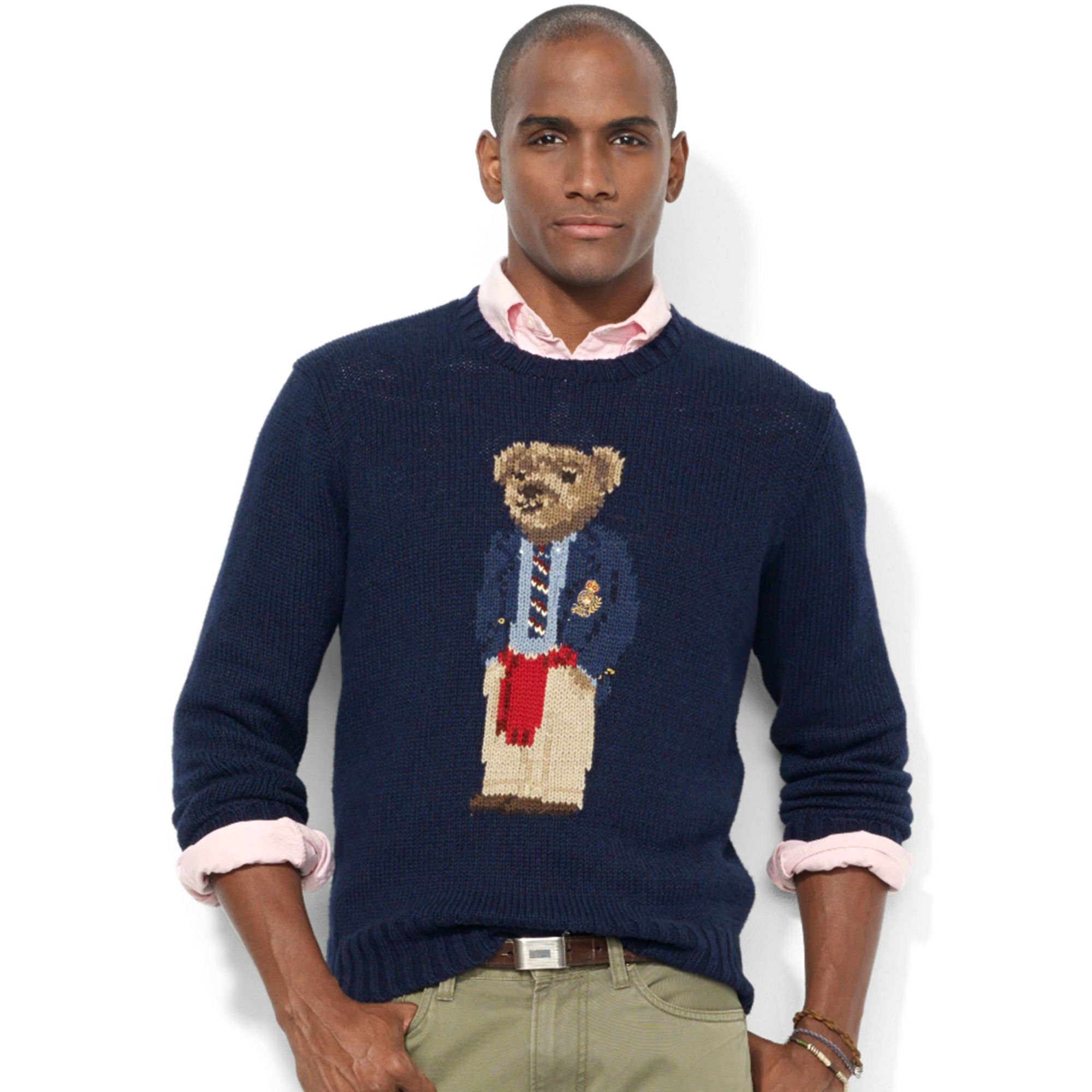 ralph lauren crew neck intarsiaknit polo bear sweater in