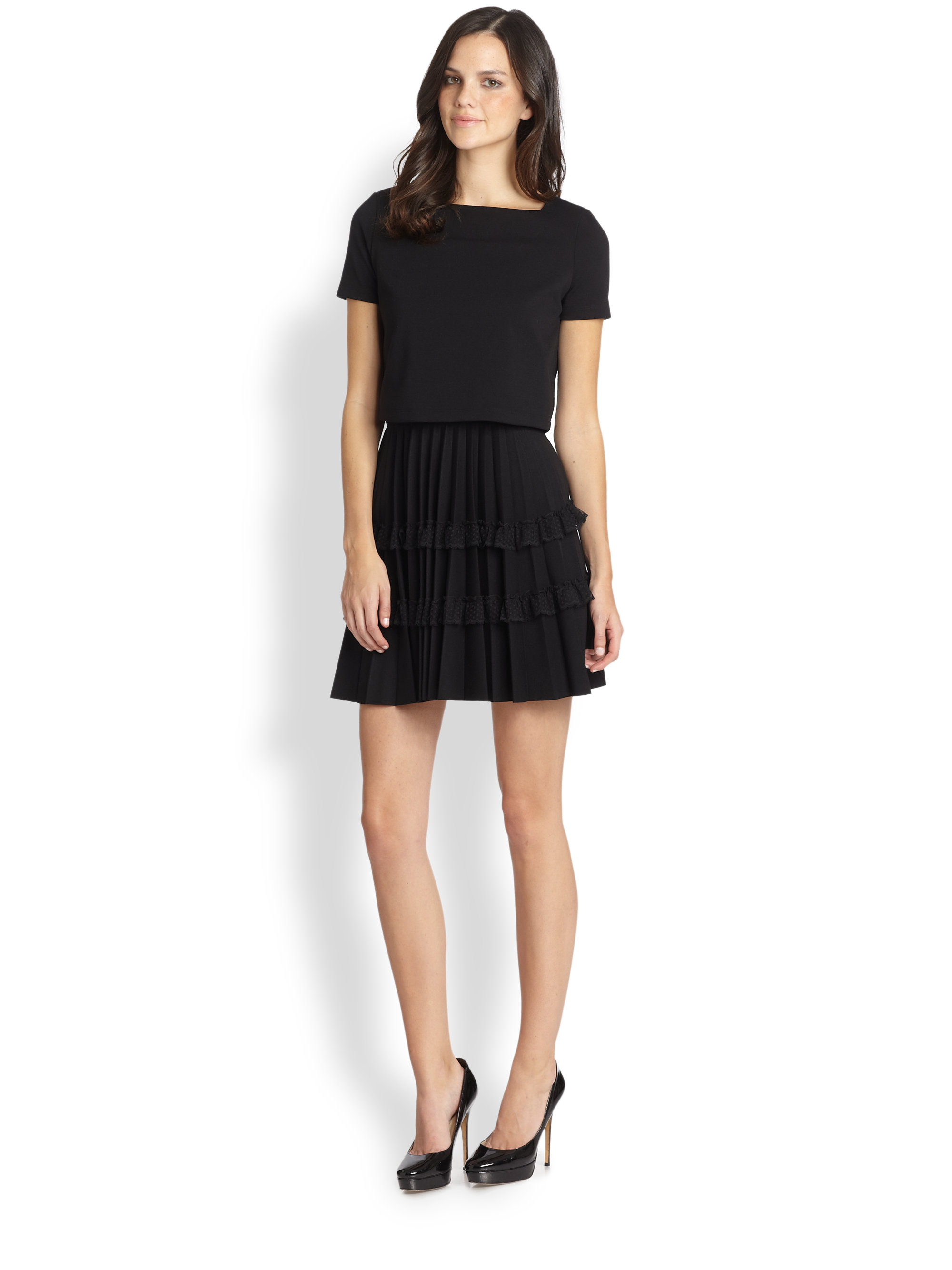 Lyst Red Valentino Overlay Pleated Jersey Dress In Black
