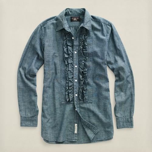 Rrl Cotton Ruffled Dress Shirt In Blue For Men Lyst