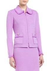 St. John Collection Fringetrim Roundcollar Jacket Wisteria - Lyst