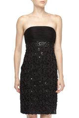 Sue Wong Strapless Rosetteskirt Dress Black - Lyst