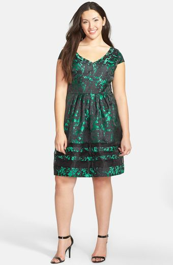 Taylor Dresses Brocade Fit Flare Dress - Lyst
