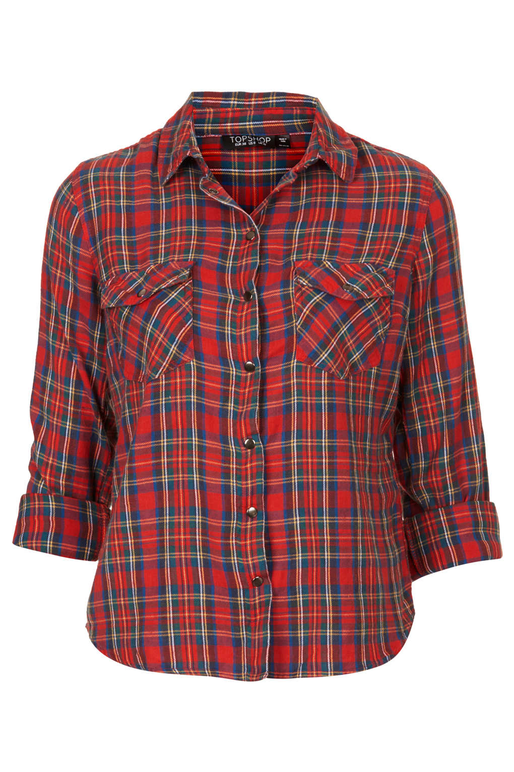 Topshop tartan check shirt in red lyst for Womens denim shirts topshop
