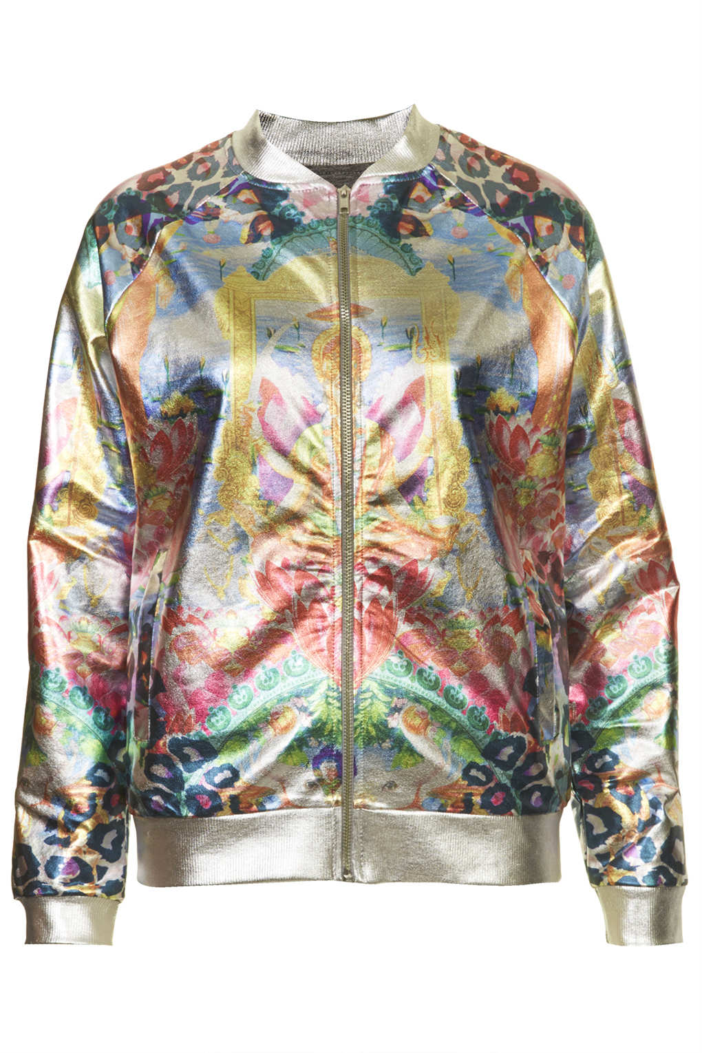 Topshop Jersey Printed Foil Bomber In Metallic Lyst