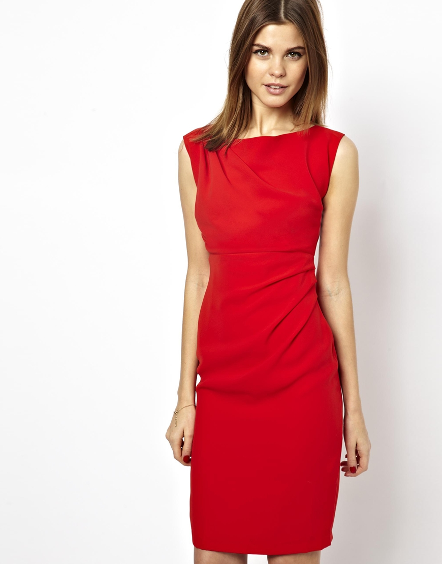Asos Pencil Dress in Red | Lyst