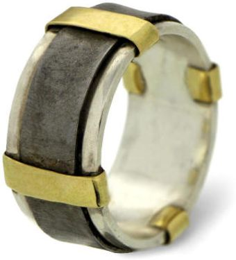 Arosha Luigi Taglia Unisex Wedding Band in 18k Gold Silver and Iron - Lyst