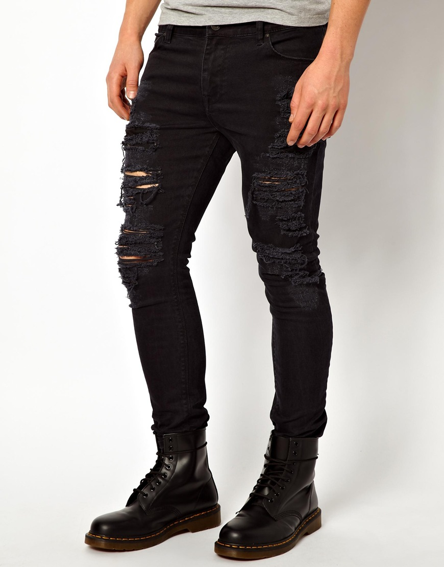 asos super skinny jeans with extreme rips in black for men. Black Bedroom Furniture Sets. Home Design Ideas
