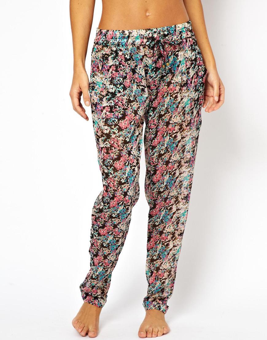 Asos Floral Print Chiffon Beach Pants in Floral (Floralprint)   Lyst