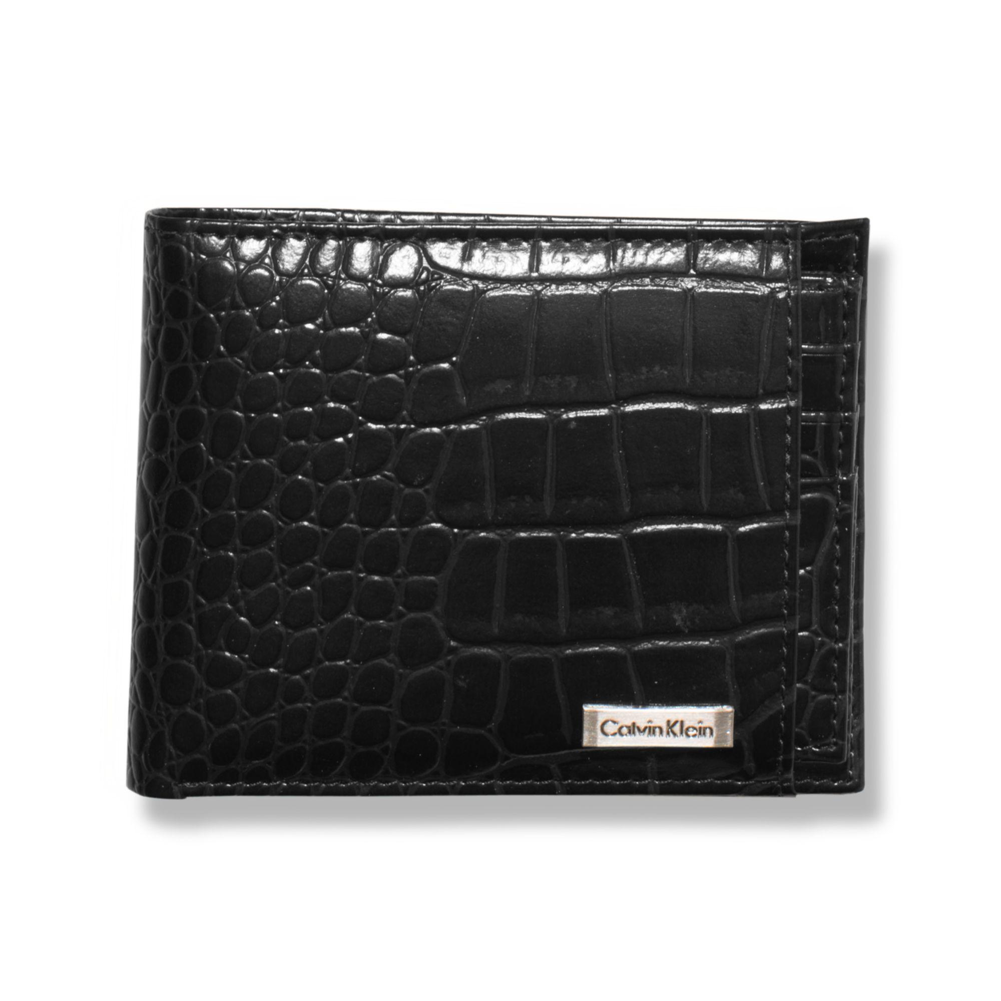 Lyst Calvin Klein Crocodile Embossed Leather Billfold