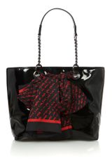 DKNY Black Small Patent Scarf Tote Bag - Lyst