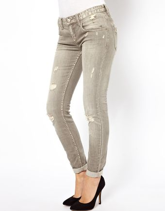 Free People Megs Denim Destroyed Skinny Jeans - Lyst