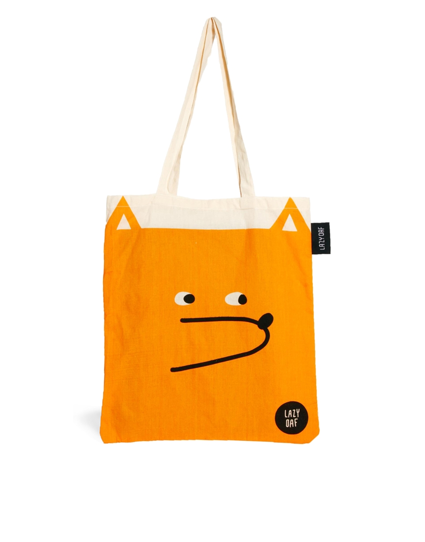 Lazy oaf Tote Bag in Fox Print in Orange | Lyst