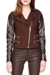 Michael by Michael Kors Leathersleeve Zipper Jacket - Lyst