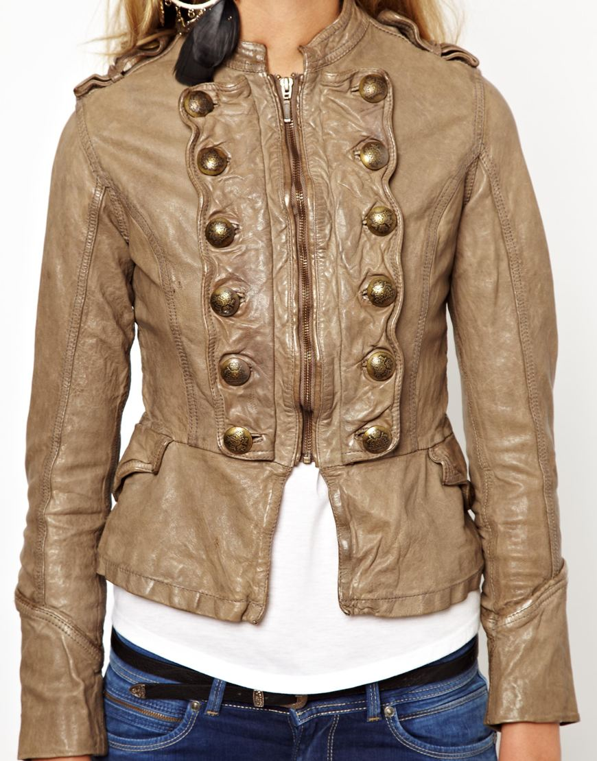 Pepe jeans Military Leather Jacket in Natural | Lyst