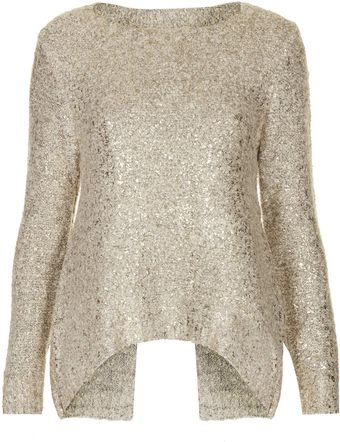 Topshop Alex Gold Flake Knitted Jumper By Jovonnista - Lyst