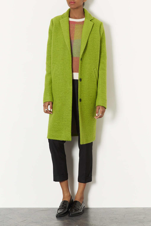 Lyst Topshop Wool Boyfriend Coat In Green