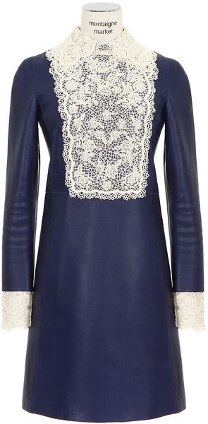 Valentino Blue Leather Dress - Lyst