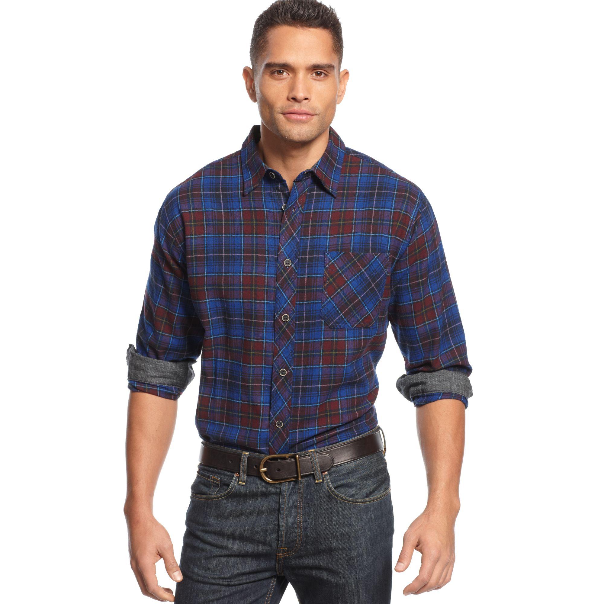 Weatherproof Longsleeve Tartan Plaid Flannel Shirt In Red